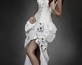 Custom Size ivory Steampunk Burlesque corset wedding gown with train prom chain
