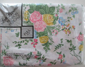 Vintage Full Double Flat Sheet, Pink Blue Yellow Floral, Unused Bedding NOS