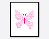 Butterfly Kisses Song Lyrics - Nursery Inspirational Wall Art - Kids Art Teen Tween Word Art - 8 x 10 or larger Print - Little girls