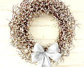 Wedding Wreath-Spring Weddings-SILVER & ANTIQUE WHITE Wreath-White Pearl Wreath-Winter Wedding-White Wreath-Custom Choose Scent and Ribbon