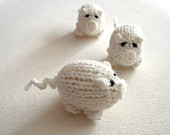 Winter white piggy knitted baby toy, little pigs stuffed toy pure white