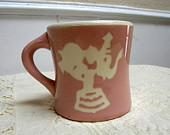 Harker elephant mug childs pink ceramic Intaglio mug Harkerware pottery circa 1930' to 1940's