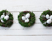 Bird nest - Easter decor table centerpiece home wreaths spring egg holiday wedding rustic decoration green moss wood woodland