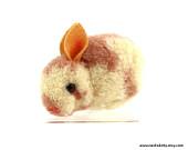 1950s Steiff Woolie Pink Bunny Rabbit, Felt Ears, Wool Body