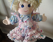Collectible Large Goldilocks Blonde Haired Fabric and Yarn Doll on Stand