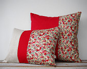 LIMITED EDITION: Red Floral Pillow Set of 2 by JillianReneDecor | Liberty Print | Spring Home Decor | Valentine's Day | Gift for Her