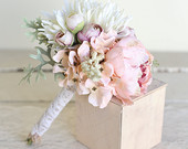 Rustic Silk Bridal Toss Bouquet Country Wedding NEW 2014 Design by Morgann Hill Designs