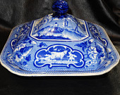 Antique Ridgway Staffordshire Blue and White Covered Dish, Circa 1835 Oxford Series