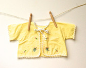 Baby Girl Sacque - Bright Yellow Flannel Infant Cover Up with Embroidered Flowers
