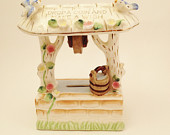 Porcelain Wishing Well Bank Drop a Coin Make a Wish Flowers Bluebirds 1950s