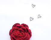 Red Brooch Flower Rose, Ruby Red Crochet Brooch Pin, Bridesmaid's accessory, Gift for her, pin, garnet red pin handmade by VeraJayne