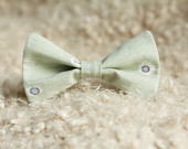 Men's or Boy's Spring Pale Green Bow Tie with Polka Dots, Spring Summer Photography Prop Bowtie Baby Child Adult Christmas Accessorie