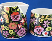 Black Floral Chintz Sugar With Creamer Included 1930-1940s Creamer Damaged