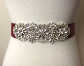 Wedding Gown Sash-Burgundy Sash-Maroon Sash-Rhinestone Sash-Bride Sash-Ribbon Belt-Wedding Dress Sash-Floral Crystal Pearl Applique Sash