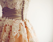 Vintage Retro Strapless Champagne Peach Tulle Lace Pearl Tea Length Wedding Dress Short Outdoor Wedding Gown
