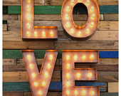 "SALE...Marquee LOVE sign 18""...Custom steel love sign, Light up love sign, Marquee sign, letters with lights"