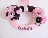 Bedroom Door Sign Pink and Brown Name Sign Girls Door Hanger Girls Bedroom Decor Baby Shower Gift Personalized Gift