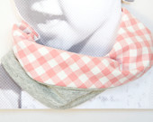 Baby girl scarf bib. Chic drooler bib. Infinity scarf look. 100% cotton. Baby, teen, adult. Pink gingham and grey