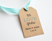 Let Love Grow Kraft Brown Small Label Tags - Custom Wedding Favor & Gift Tags - Choice of Colors