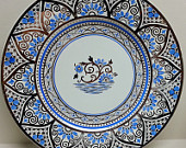 Wedgwood England Platinum Periwinkle Blue Painted Moroccan Pattern Platter Chop Plate