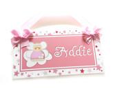 pink angel girls room door sign - babies bedroom decor plaque - P91