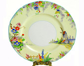 Vintage Plate, W. H. Grindley, The Old Mill, Tunstall, England, 8 1/2""