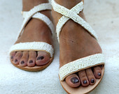 "White bridal pearl  leather sandals ""Naiad"" (handmade to order)"