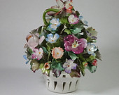 Capodimonte basket of flowers candle holder