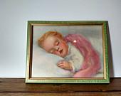 Vintage Framed Print of Sleeping Baby - Nursery Decor 6x8
