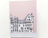 Edinburgh Notebook - Ramsay Lane, Edinburgh, Pastel Pink Journal, Gift for Her, blank journal, Travel Journal