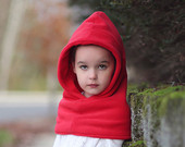 Red Hooded Scarf, Girl's Fleece Hat and Scarf, Valentine's Day Scarf