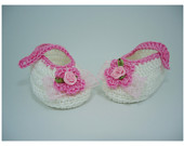 "Crochet Baby shoes - Up to 12 cm (4.7"") - Babyshower gift, christening or other occasion"