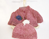 Vintage Baby Sweater,  Knitted Dark Magenta Mohair Cardigan,  Child's Jacket and Hat, Purple Girl's Sweater