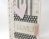 Valentine's Day Card - Valentine Collage - Love Card - Pink Heart - Pink and Grey - Blank Card - Shabby Chic - Vintage Paper - White Lace