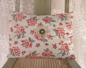 Hand Made Pillow Vintage Floral & Gingham English Country Cottage Decor Rectangle Throw Pillow Pink and Red Flowers