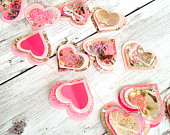 Pink Heart Garland, 3D Valentine Heart Garland,  Love Hearts Wedding Garland  Heart Banner Party Decoration 7 Ft.