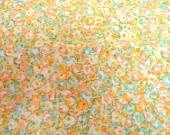 Peach and blue floral cotton small scale print 1 yard and 32 inches x 45 inches DESTASH