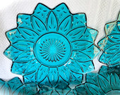 RESERVED K Teal Blue Petal Plates By Federal Glass Company Luncheon Plates Desert Plates Excellent Condition