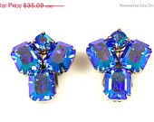 On Sale Vintage Weiss Blue Aurora Borealis Rhinestone Earrings Clip Back 1960s Glass Rhinestones