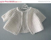 ON SALE Vintage handknit pearly white cardigan sweater / newborn to 3 months