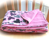Luxuriously Soft Large Pink Minky Blanket with Black and White Hearts, Flannel on Reverse, Valentines Gift for Baby, 34 x 42 inches