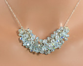 LP 1220  Aquamarine Swarovski Crystal Necklace