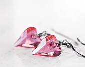 Pink Valentine Heart Earrings Sterling Silver Oxidized Wire Wrapped Swarovski Crystal Sweetheart Earrings