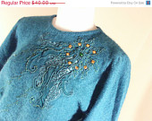 ON Sale 80s Turquoise Teal Long Sleeve Embellished Beaded Sequin Sweater