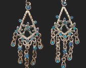 "Vintage 2 1/2"" Silver & Ice Blue Crystal Gems Rhinestones Long Chandelier Hook Earrings Brilliant Ice Perfect"