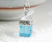 Light Teal Necklace Aquamarine Crystal Swarovski Pendant, Blue Cube Bridesmaids Necklace, Simple Bridal Wedding Jewelry, March Birthstone