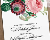 Printable Spring Bridal Shower Invitation, Printable Rustic Bridal Shower Invite, Vintage Floral Invitation Wedding Shower Floral Invitation