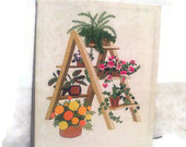Wall Floral Vintage Hanging Hangings Vtg Decor Art Decorative Flower Frame Embroidery