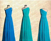 30% OFF SALE Aquamarine Bridesmaid dress A-line chiffon dress Evening Formal dress prom dress one shoulder Custom 120 colors Any size