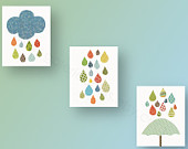 Cloud umbrella rain - baby nursery decor nursery art - kids art baby art  - Playroom girl and boy - Set of 3 Prints - Raining Colors